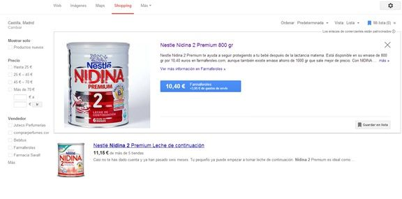 Ejemplo producto Google Shopping
